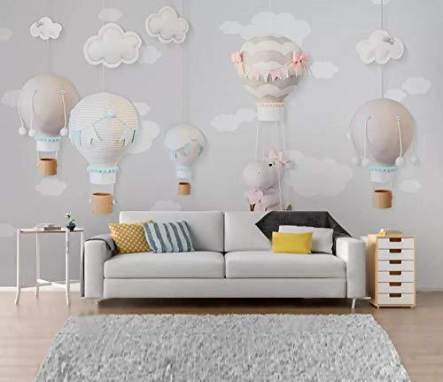 rte klassische Tapete Nordic minimalistischen handgezeichneten Tier Ballon Kinderzimmer Hintergrund Tapeten Wohnkultur T7-200cmx140cm ()