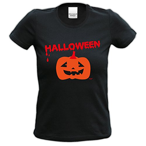 Damen-Mädchen-Halloween-Kostüm-Girlie-Fun-T-Shirt Gruselig witziges Shirt für Frauen Halloween Geister Gespenster Kürbis Outfit Geschenk Idee Farbe: schwarz Schwarz