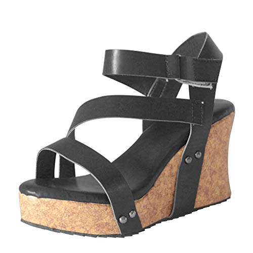 UOWEG Wedges Sandalen für Damen Retro Open Toe Wedges Schuhe Leder Plattform römischen Sandalen Metallic-woven Leder