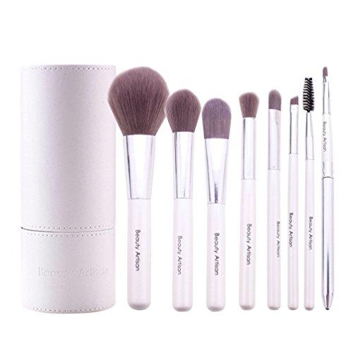 NiSeng Kit de Pinceau Professionnel Brosses de Maquillage 8 Pièce avec Boîte Blanc