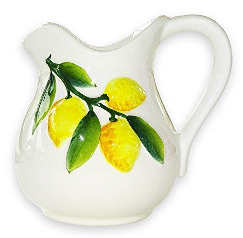 Lashuma handgemachter Keramik Krug, Milchkanne aus Italienischer Keramik mit Zitronen Reliefdekor, Kännchen Füllmenge ca. 500 ml - Hohe, Keramik-krug Weiße