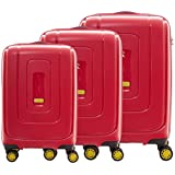 American Tourister Lightrax Set of 3, Hard Luggage Trolley Bags With TSA Lock, 55+69+79cm, Red