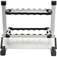 Zhuhaimei,12-Stab-Portable Aluminium Angelrute Display Rack(Color:Platin)