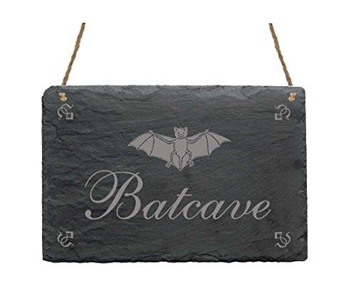 CAVE » Schild mit Motiv Fledermaus - Größe ca. 22 x 16 cm - Geschenk Dekoschild Dekoration - Party Halloween Gothic ()
