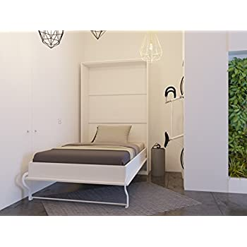 lit escamotable de 120 cm verticale blanc smartbett. Black Bedroom Furniture Sets. Home Design Ideas