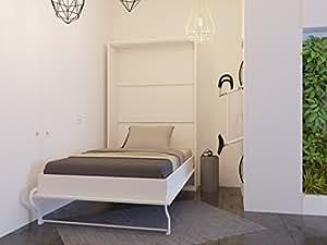 lit escamotable de 120 cm verticale blanc smartbett armoire lit le lit mural pliant sans. Black Bedroom Furniture Sets. Home Design Ideas