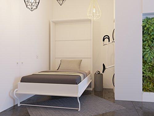 Schrankbett 120x200 cm Vertikal Weiß Schrankklappbett & Wandbett, ideal als Gästebett - Wandbett, Schrank mit integriertem Klappbett, SMARTBett
