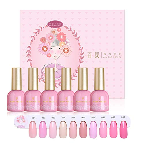 BORN PRETTY Pink Gel Nail Polish Kit 15 ML 10 Bottles Pure Series Color UV LED Lamp Required Soak Off UV Gel Nail Varnish (Super-high-gloss Top Coat)