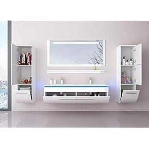 Badmöbel Doppelwaschbecken Set Weiß 120 cm mit 2 Hängeschränken Waschbecken Spiegel und Ablage Vormontiert Badezimmermöbel LED Hochglanz lackiert Homeline1