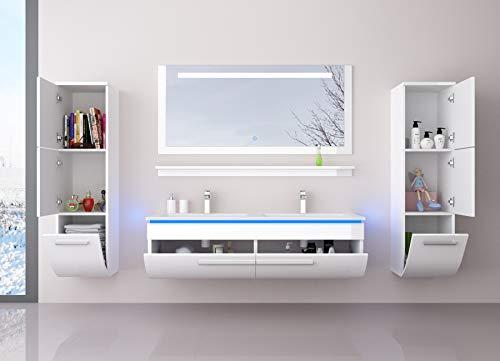hbecken Set Weiß 120 cm mit 2 Hängeschränken Waschbecken Spiegel und Ablage Vormontiert Badezimmermöbel LED Hochglanz lackiert Homeline1 ()