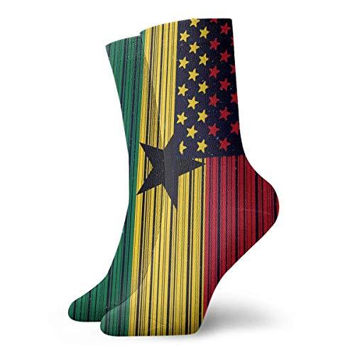 tyui7 Lustige Barcode USA Ghana Flagge Socken bunte Spaß Sport athletische Strümpfe für Männer & Frauen