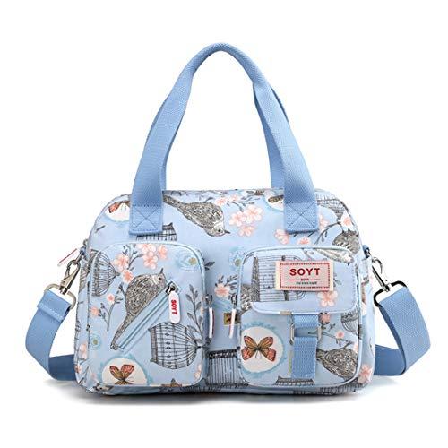 8 Farbe Frauen Handtasche Gedruckt Blumen Wasserdichte Nylon Damen Umhängetasche Tote Bolsas Marke Umhängetaschen Light Blue Plum blos
