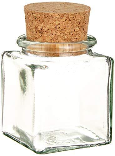 Viva Haushaltswaren - 8 kleine Gewürzgläser 100 ml, Glasdosen mit Korkverschluss für Gewürze, Salz, Gastgeschenke, usw, inklusive einer Gewürzschaufel aus Holz