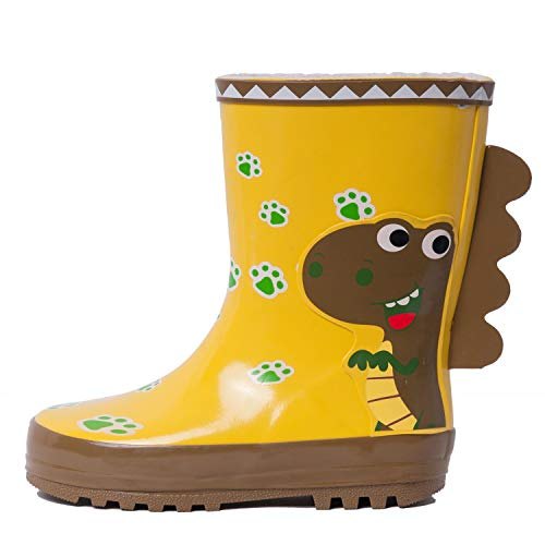 XSYYQYLL Boys Girls Rubber Rain Boots 3D Dinosaur Designer Cute Cartoon Waterproof Skid-Proof Infant Kids Children Slip-on Rainboots