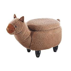 Kobolo Tierhocker Kinderhocker Hocker Alpaca – braun im Alpaka-Design mit Staufach