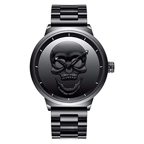 Relojes, hombre Cool negro analógica cuarzo reloj de lujo funda relojes creative diseño de calaveras Dail Punk estilo Vintage de estilo militar de la banda de malla de acero inoxidable