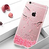 Surakey Kompatibel mit iPhone 6S Plus Hülle,iPhone 6 Plus Hülle Crystal Case Hülle Silikon Schutzhülle Durchsichtig,Pflaumenblüte Muster Glänzend Kristall Handyhülle Tasche Etui Bumper