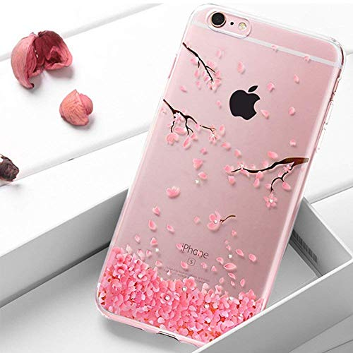 Coque iPhone SE,Surakey Bling Gliter Paillette Coque iPhone 5 / 5S / SE Transparent Silicone TPU Souple Bumper Case Cover de Protection Crystal Clear Housse Etui,fleurs de cerisier roses motif
