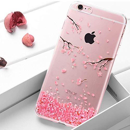 iPhone SE Hülle,iPhone 5S Hülle,iPhone SE Hülle Glitzer,Surakey iPhone SE 5 5S Crystal Case Hülle Silikon Schutzhülle Durchsichtig,Pflaumenblüte Muster Glänzend Kristall Handyhülle Tasche Etui Bumper