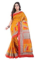 Glory Sarees Women's Bhagalpuri Art Silk Cotton Sarees(saree10_Orange)