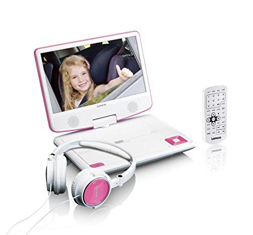 Lenco tragbarer DVD-Player DVP-910 9 Zoll (22,5 cm) mit drehbarem Display und Integriertem Akku (USB, AV-Ausgang), Netzadapter, Kopfhörer, Pink (Dvd-player Tragbarer Zoll 9)