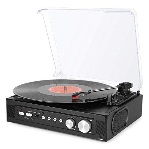 1byone Riemengetriebener 3-Gang Mini-Plattenspieler mit eingebauten Lautsprechern, Plattenspieler Vinyl zu MP3-Aufnahme