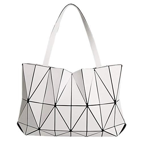 KCNXCE Frauen Taschen Matte Dreieck Bao Weiblichen Tote Diamant Geometrie Stepp Handtasche Mosaik Umhängetasche White -
