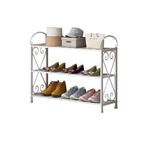 Xiuyun Support à chaussures 3 niveaux permanent de stockage organisateur de décoration de cadre en métal peut être utilisé comme étagère de stockage (Couleur : A, taille : S)