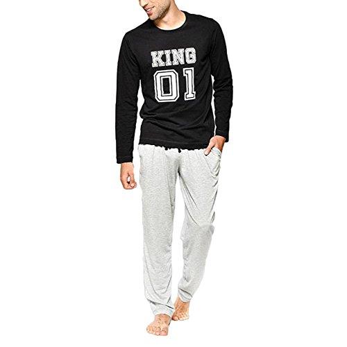 Juleya Schlafanzüge Familie Passende Pyjamas - Langarm Top & Lange Hosen Nachtwäsche 2PCS/Set für Männer Frauen Jungen Mädchen