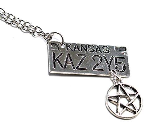 Halskette Nummernschild, Supernatural Dean, Pentagramm, Kansas Nummernschild, Silberfarben