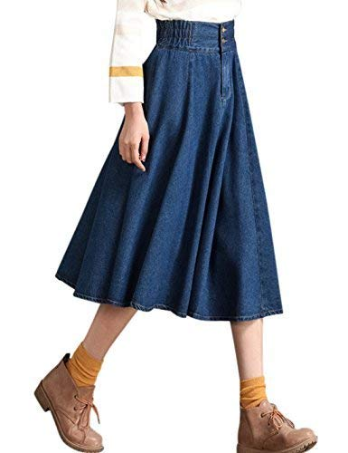 Tanming Damen elastische Taille a-line plissierten midi Denim Skirt xx-Large blau