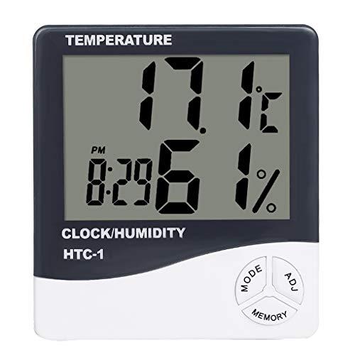 Morza Temperatura Mini Humedad del termómetro de Cuarto de contadores Despertador Digital LCD de Interior...