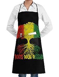 Roots Rock Reggae Professiona Kitchen Chef Adjustable Bib Apron with  Pockets for Women Men db3f49672a9b
