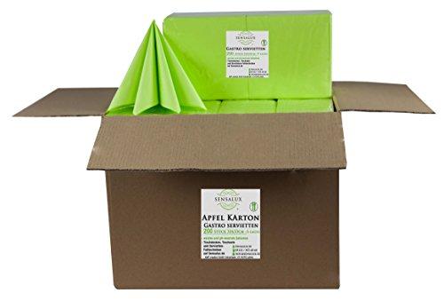 Sensalux Gastro-Servietten Karton, 8 x 200 Stück, apfelgrün, 3-lagig 1/4-Falz 33 cm x 33 cm, 1600 STK Servietten, hochwertige Servietten, ideal für Partys, Hochzeiten, Geburtstage
