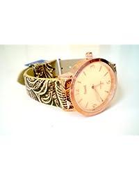 Sami RSM-81210-2 Reloj de Pulsera de Mujer Corona Cristal Correa Piel Marron