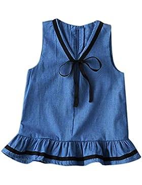 Vestido de niña, RETUROM Vestidos sin mangas de niña de niña de Bowknot Denim