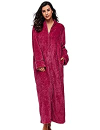 BELLOO Ladies Soft Fleece Dressing Gown Full Length Fluffy Bathrobe Zip Up 1978bf679