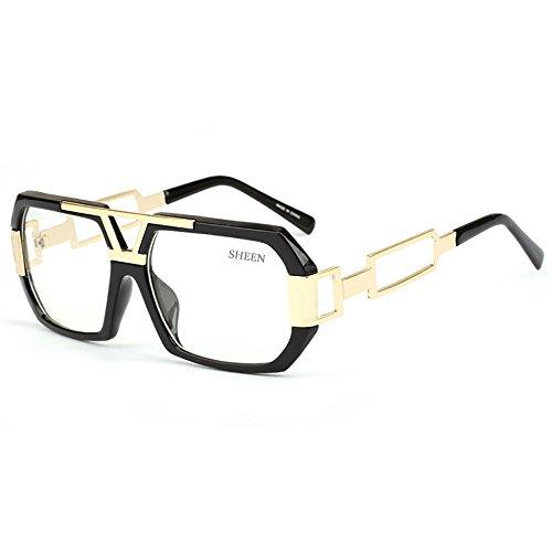 SHEEN KELLY Hexagon Retro Rechteckig Sonnenbrille Damen Herren Metall Brillen Gold Square Brille Luxus Transparente Linsen