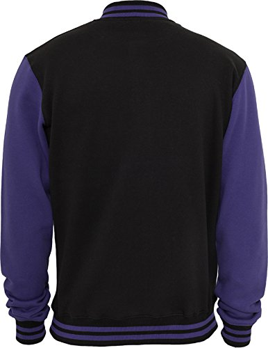 URBAN CLASSICS - 2-tone College Sweatjacket (black/purple) Black/Purple