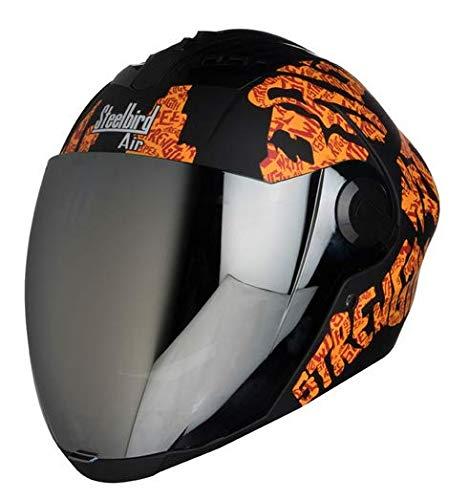 Steelbird SBA-2 Full Face Helmet (Black and Orange, L)