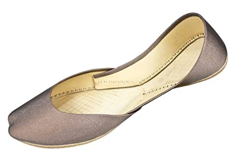 Womens Brown Cow Hide Leather Casual Indian Khussa Shoes Pumps-5uk