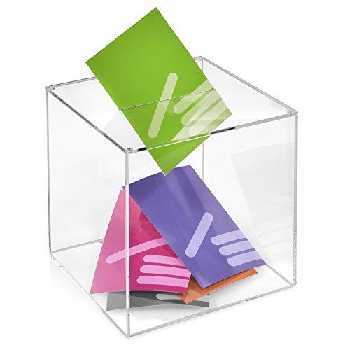 Losbox/Aktionsbox 200x200x200mm transparent, aus Acrylglas/Spendenbox / Einwurfbox/Gewinnspielbox / Wahlurne/Acryl - Zeigis®