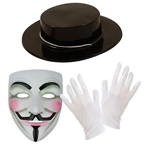 (V for Vendetta Maske, Hut & Weiße Handschuhe Kostüm Kombo-Set)