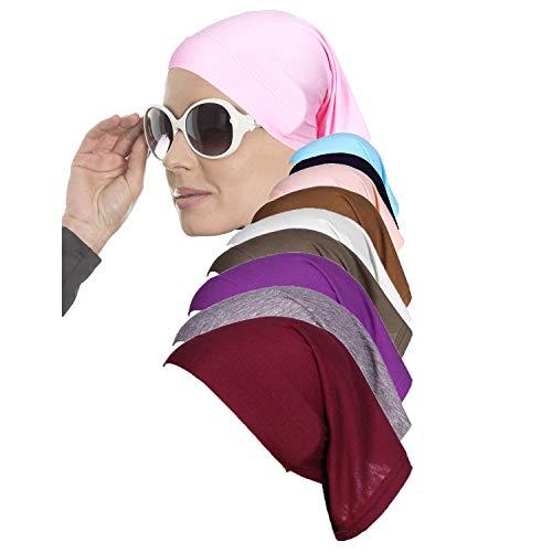 Elena Omour Hijab Untertuch Cap 10 Stück für muslimische Frauen mit Elastische Baumwolle - bei Chemo - Underscarf für Kopftuch und islamische Kopfbedeckung