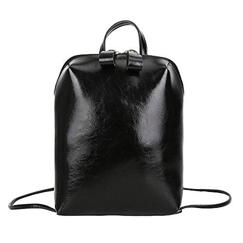 Ears Vintage Damen Student Rucksack,Volltonfarbe Schulrucksack Reiserucksack Backpack Frauen Mädchen Schultasche Daypacks Schultertasche Trekkingrucksacke Rucksäcke Reisetasche (schwarz)