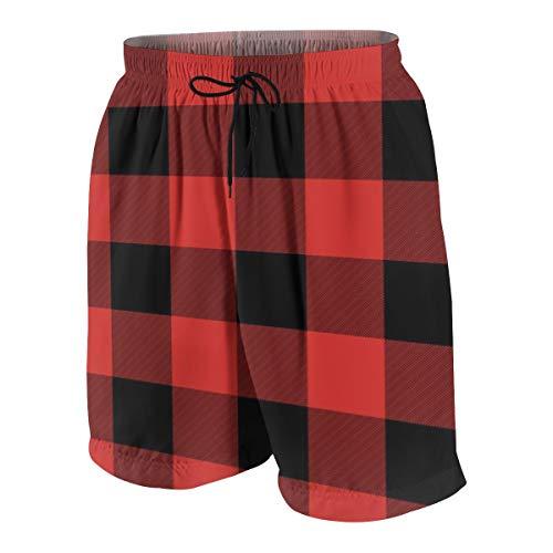 Meiya-Design Herren Badeshorts mit Tasche, Rot und Schwarz Buffalo Kariert Neuheit Beach Board Shorts Gr. Verschiedene Größen, Mehrfarbig