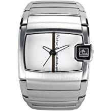 Quiksilver M100BF/AWHT - Reloj de caballero de cuarzo, correa de acero inoxidable color plata