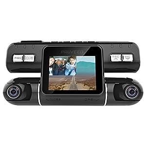 PRUVEEO MX2 KFZ Autokamera Dashcam Dual Objektiv 240 Grad Weitwinkel Dashboard Kamera Driving Recorder mit G-Sensor, Loop Recording für Fahrzeuge