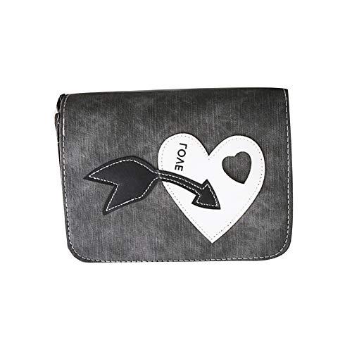YSoutstripdu Women es Shoulder Bag Arrow Heart Applique Faux Leder Square Flap Crossbody-Pink/Grey/Green/Green/Black -