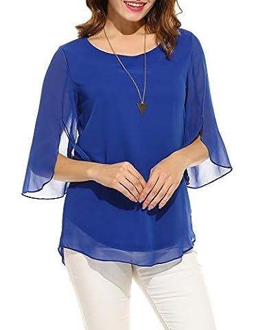 ACEVOG Women's Scoop Neck Chiffon Solid Blouse Top (Blue XXL)
